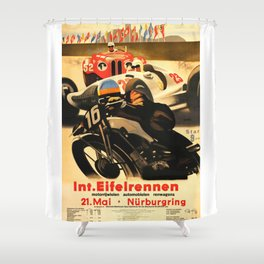 Nurburgring Race, vintage poster Shower Curtain
