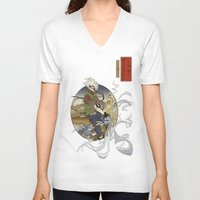 kakashi V-neck T-shirts featuring Woodblock Kakashi by Sempaiko