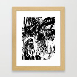 Jig Jag #01 - Black and White Abstract Art and Art Prints Framed Art Print