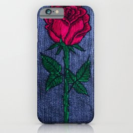 Red Rose Embroidery iPhone Case
