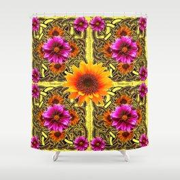 YELLOW SUNFLOWER PURPLE FLORAS CELTIC ART Shower Curtain
