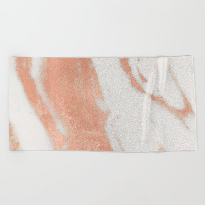 Marble Rose Gold Shimmer Light Beach Towel