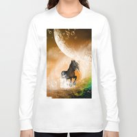 running Long Sleeve T-shirts featuring Running horse by nicky2342