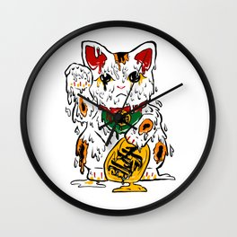 Melting Maneki Neko Lucky Cat Wall Clock