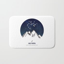 Astrology Sagittarius Zodiac Horoscope Constellation Star Sign Watercolor Poster Wall Art Bath Mat