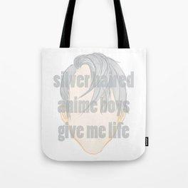 Silver Hair Anime Boys Tote Bag