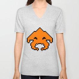 Pixel Invader : Orange Unisex V-Neck