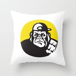 Angry Gorilla Head Baseball Cap Circle Retro Throw Pillow