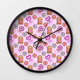 Funny happy little pink baby sloths, pink hearts. Vintage retro lollipops. Cute girly pink pattern Wall Clock