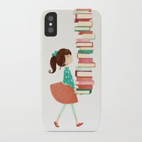 library iPhone & iPod Cases featuring Library Girl by Stephanie Fizer Coleman