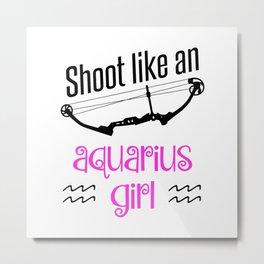 Bow Archer Archery Aquarius Zodiac Sign Gift Metal Print