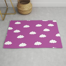 White clouds in purple pink background Rug