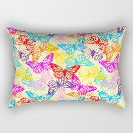 Multicolored Butterflies Pattern Rectangular Pillow