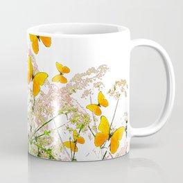 WHITE ART GARDEN ART OF YELLOW BUTTERFLIES Coffee Mug