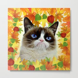 Funny Sad Autumn Cat Metal Print