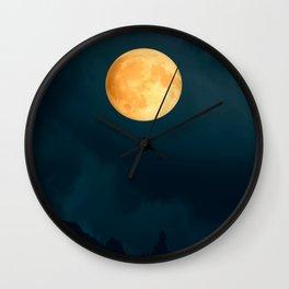 Full Moon Shines Overnight #decor #society6 #buyart #homedecor Wall Clock