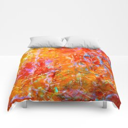 Abstract with Circle in Gold, Red, and Blue Comforters