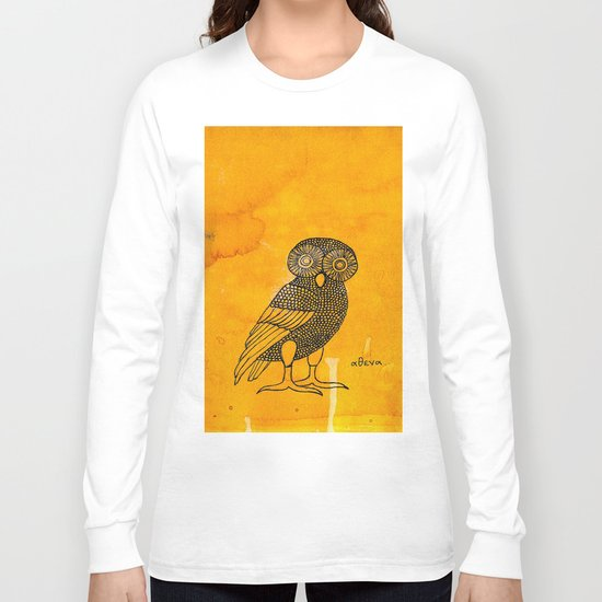 ATHENA'S OWL IN TEA & COFFEE BACKGROUND  Long Sleeve T-shirt