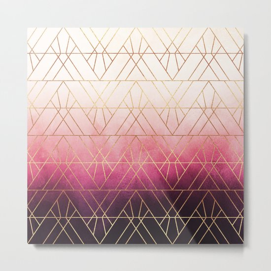 Pink Ombre Triangles Metal Print