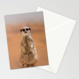 A cute Meerkat, standing on two legs, watches his area. Stationery Cards