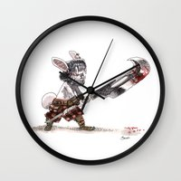bouletcorp Wall Clocks featuring Lapin Barbare by Bouletcorp