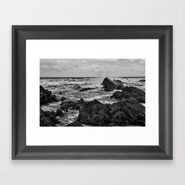 Black & White Seascape - South West Coast of England - Cornwall Framed Art Print