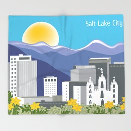 Salt Lake City, Utah - Skyline Illustration by Loose Petals Throw Blanket