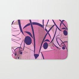 Pink Fox Retro Print Bath Mat