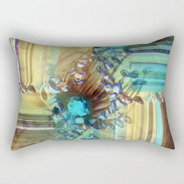 Teal and Brown Lined Abstract Rectangular Pillow