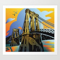 brooklyn bridge Art Prints featuring Brooklyn Bridge by David Chestnutt