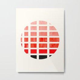 Watercolor Colorful Vermillion Minimalist Mid Century Modern Square Matrix Geometric Pattern Round C Metal Print