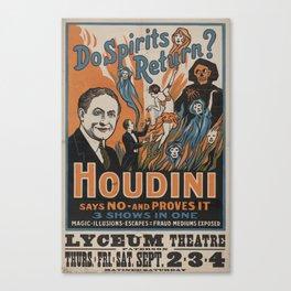 Houdini - vintage poster, spirits Canvas Print