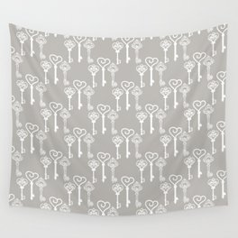 Vintage keys on a gray background Wall Tapestry