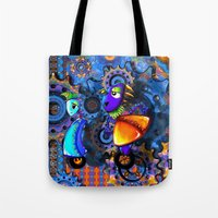 robots Tote Bags featuring Robots by aboutlaila