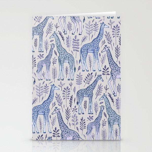 Blue Giraffe Pattern Stationery Cards