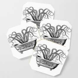 Tentacles in the Tub | Octopus | Black and White Coaster