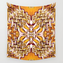Fiery Orange and Cream Spiral Bends Wall Tapestry