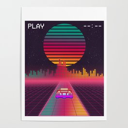 Retro 80s Cyberpunk Synthwave Sunset fast car in Outrun grid design Poster