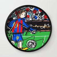 messi Wall Clocks featuring Messi by Rimadi