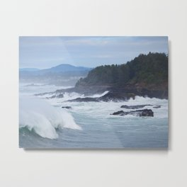 Crashing Waves In Blue Metal Print