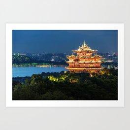 Buddhist temple riverside, China Art Print