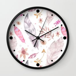 Watercolor Boho Feather Pattern Wall Clock