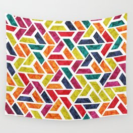 Seamless Colorful Geometric Pattern XII Wall Tapestry