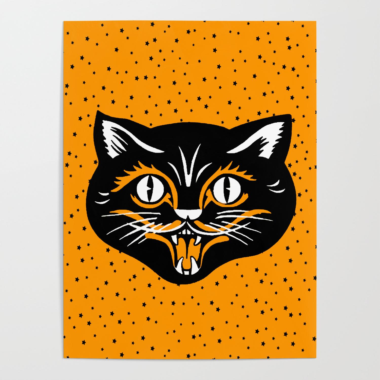 Vintage Type Halloween Black Cat Face Stars Orange Poster By Artbymar Society6