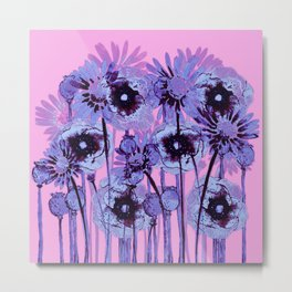 blue flowers on pink background Metal Print