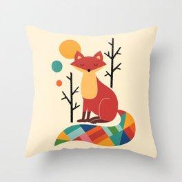 Rainbow Fox Throw Pillow