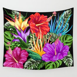 Tropical Flora Summer Mood Pattern Wall Tapestry