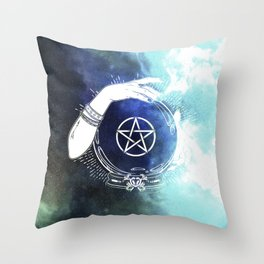 Mystic Cosmos Fortune Teller Throw Pillow