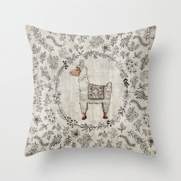 Lala Llama Throw Pillow