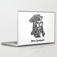 jack sparrow Laptop & iPad Skins featuring Captain Jack Sparrow by christoph_loves_drawing